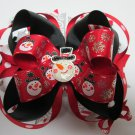Black and Red Snowman Stacked Hair Bow (Item no. 00037)
