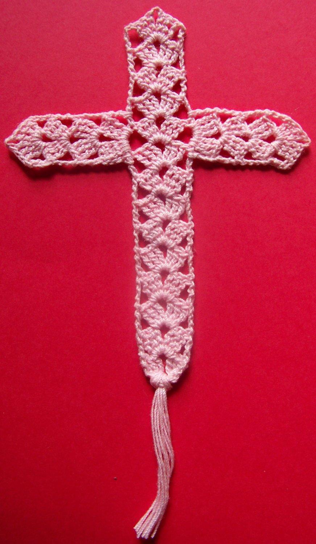 Pink Crochet Cross Bookmark