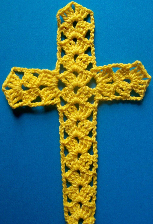 Bright Yellow Cross Bookmark Crochet