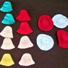 13 Small Doll Hats White Red Peach Green