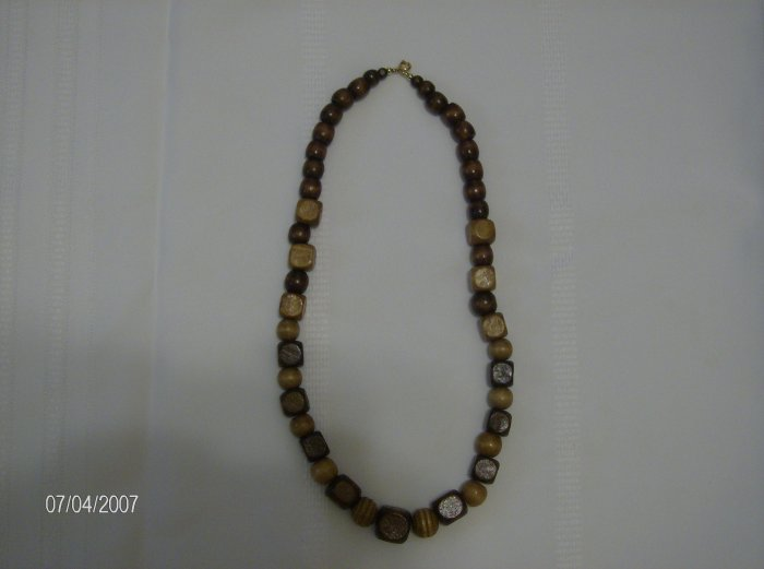 Chocolate and Caramel Wooden Necklace