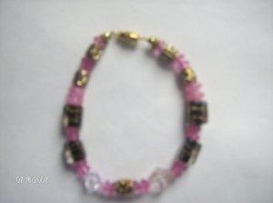 """Poppin Bubblegum"" Pink Glass Bead Bracelet"