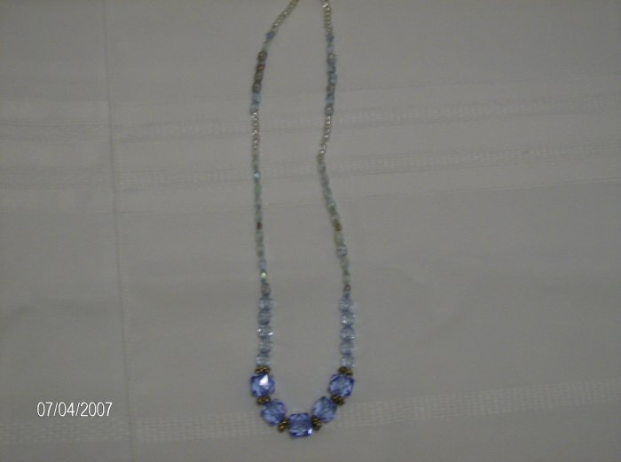 """Blue Raspberry"" Blue Glass Bead Necklace"