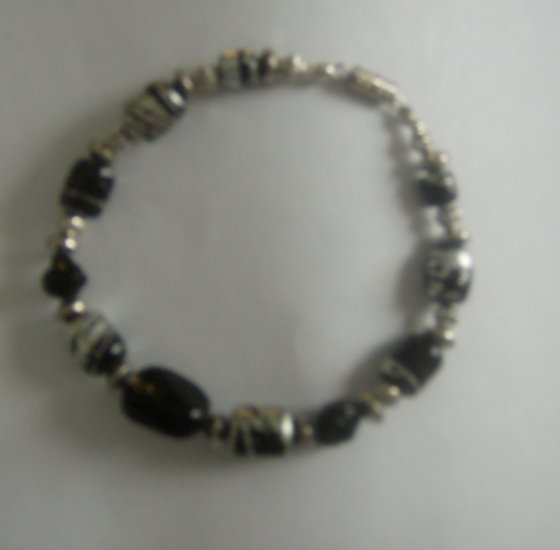 Black and Silver Glass Beaded Necklace