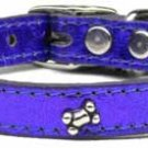 """10"""" - 14"""" Bone Accents Leather Colored Dog Collar"""