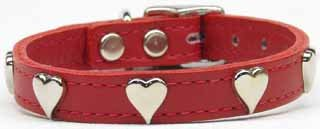 """10""""-14"""" Heart Accent Color Leather Dog Collar Sizes"""