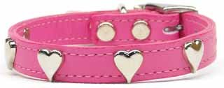 "16"" -26"" Heart Accent Color Leather Dog Collar Sizes"