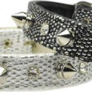 Faux Snake Skin Spike & Crystal Dog Collar