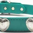 Western Silver Heart Accent Color Leather Dog Collar