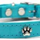 "10-14"" Fashion Paw Accent Faux Ostrich Dog Collar"