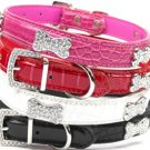 XSmall Faux Croc Crystal Jewel Bling Bone & Buckle Dog Collar