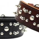 "25"" & 27"" Big Breed Stud & Spike Leather Dog Collar"