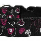 SM Adjustable Floral Hearts Nylon on Black Dog Collar