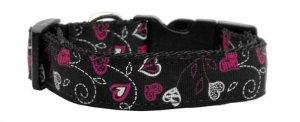 LG Adjustable Floral Hearts on Black Nylon Dog Collar