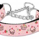 "Med 10"" - 18"" Light Pink Cupcakes Adjustable Nylon Safety Dog Collar with FREE SHIPPING"