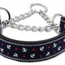 "Med 10"" - 18"" Navy Blue Adjustable Nylon Anchors Safety Dog Collar with FREE SHIPPING"