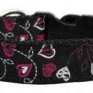 Cat Collar -Adjustable Floral Hearts Nylon on Black