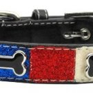 Med Red, White &  Blue Bone Accent Dog Collar