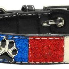 Med Red, White & Blue Paw Accent Dog Collar