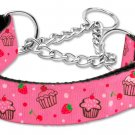 "Med 10"" - 18"" Pink Cupcakes Adjustable Nylon Safety Dog Collar with FREE SHIPPING"
