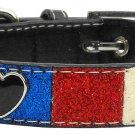 LG Red, White & Blue Heart Accent Dog Collar