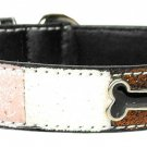Med Pink Bone Accent Dog Collar