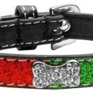 XS Red & Green Crystal Bone Dog Collar