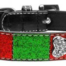 Med Red & Green Crystal Bone Dog Collar