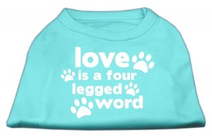 """Love is a Four Legged Word"" Dog Shirt"