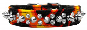 SZ 16, 18 & 20 Punky Spiked Flame Dog Collar