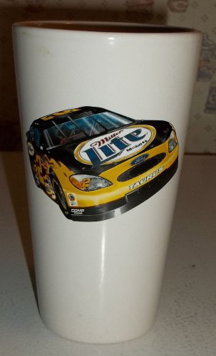 RUSTY WALLACE MILLER LITE CERAMIC PINT GLASS #2 BAD IN BLACK M WARE