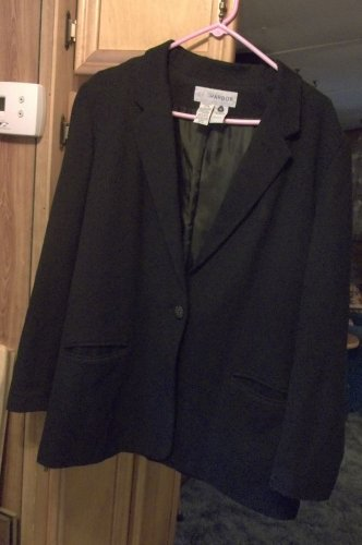SAG HARBOR BLACK WOOL BLEND LINED BLAZER CAREER SUIT JACKET SZ 14