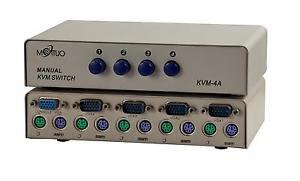 KVM Manual Data Switch Box 4 Ports DB15 PS2 - 100% New!
