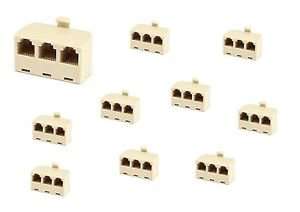 10 Pieces of RJ11 Telephone Splitter Male to Female 3 Ways 6P4C - 100% New!