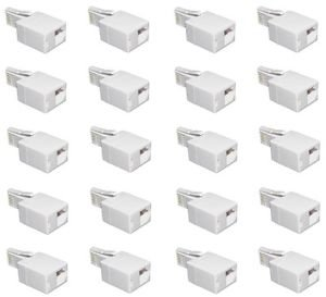20 Pieces of BT Plug to RJ11 Socket Telephone Cable Adapter 6P4C - 100% New!