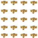20 Pieces of Gold Plated T Type Female TV Antenna Splitter - 100% New!