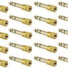 20 Pieces of 6.3mm Male to 3.5mm Female Stereo Gold Jack Adapter - 100% New!