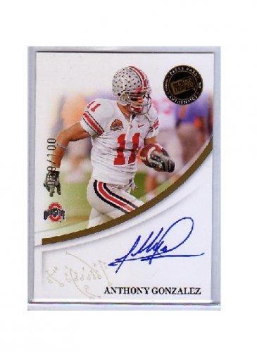 Anthony Gonzalez 2007 Press Pass Authentics Autograph Gold #21 RC Colts #/100