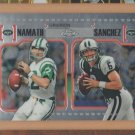 2010 Topps Chrome Gridiron Lineage Joe Namath Jets w/ Mark Sanchez