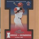 2003 Playoff Prestige Inside the Numbers Garret Anderson Angels /2002