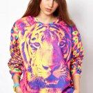 OASAP Dazzling Tiger Graphic Sweatshirt, multi, L, OP33892