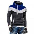 Man Long Sleeves Stylish Color Block Drawstring Fleece Hoodies, blue&white&deep grey, S, OP46329