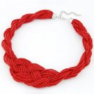 OASAP Beaded Multi-strand Necklace, red, one size, OP37233