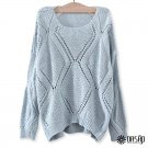 Solid Crochet Rhombus-Pattern Sweater Casual Round Neckline Top, light blue, one size, OP43493