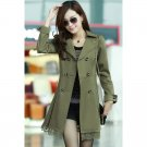 OASAP Lace Paneled Double-breasted A-line Coat, olive, L, OP34168