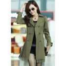 OASAP Lace Paneled Double-breasted A-line Coat, olive, XL, OP34168