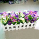 OASAP Purple Daisy Artificial Floral with Decorating White Fence Pattern Pot Vase, purple, OP57710