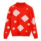 OASAP Chic Christmas-Inspired Snowflake Print Sweater, red, one size, OP57959