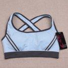 Ossap,Women Yoga Athletic Sports Bras Crop Bra Tops Seamless Padded Racerback,light blue,l,61804