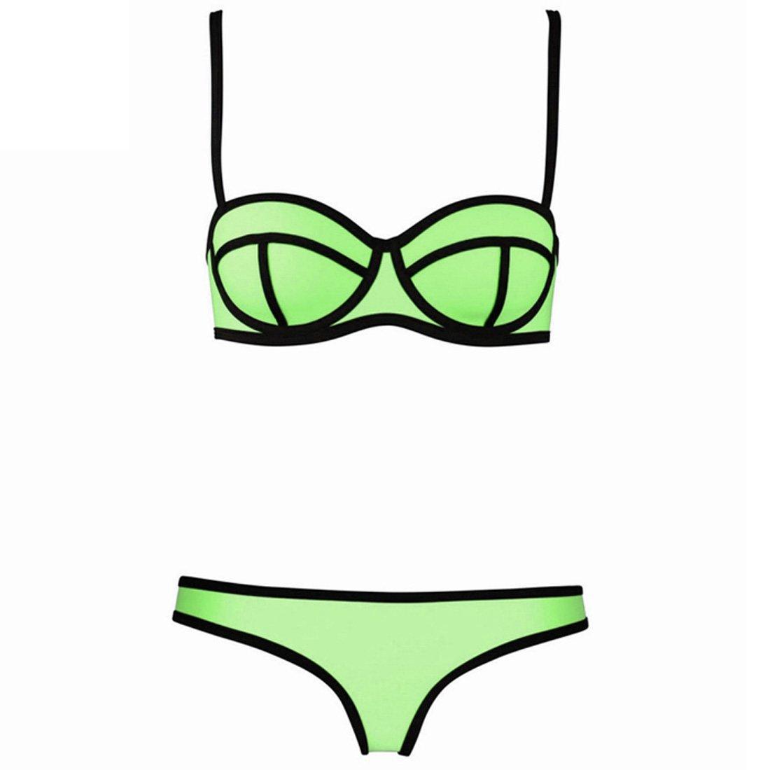 OASAP 8 Colors Summer Contrast 2PC Bikini Swimwear, lime, L, OP64442